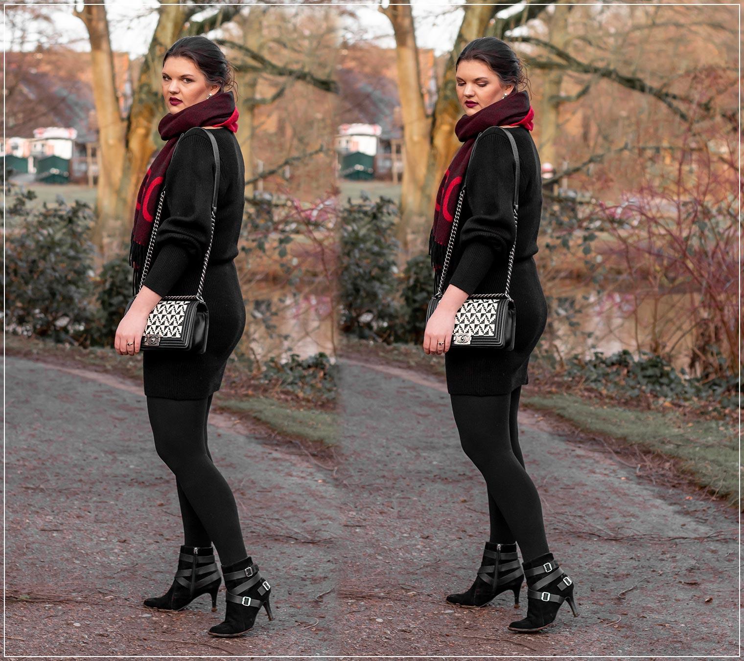 Schwarzes Rippenstrickkleid elegant im Winter tragen