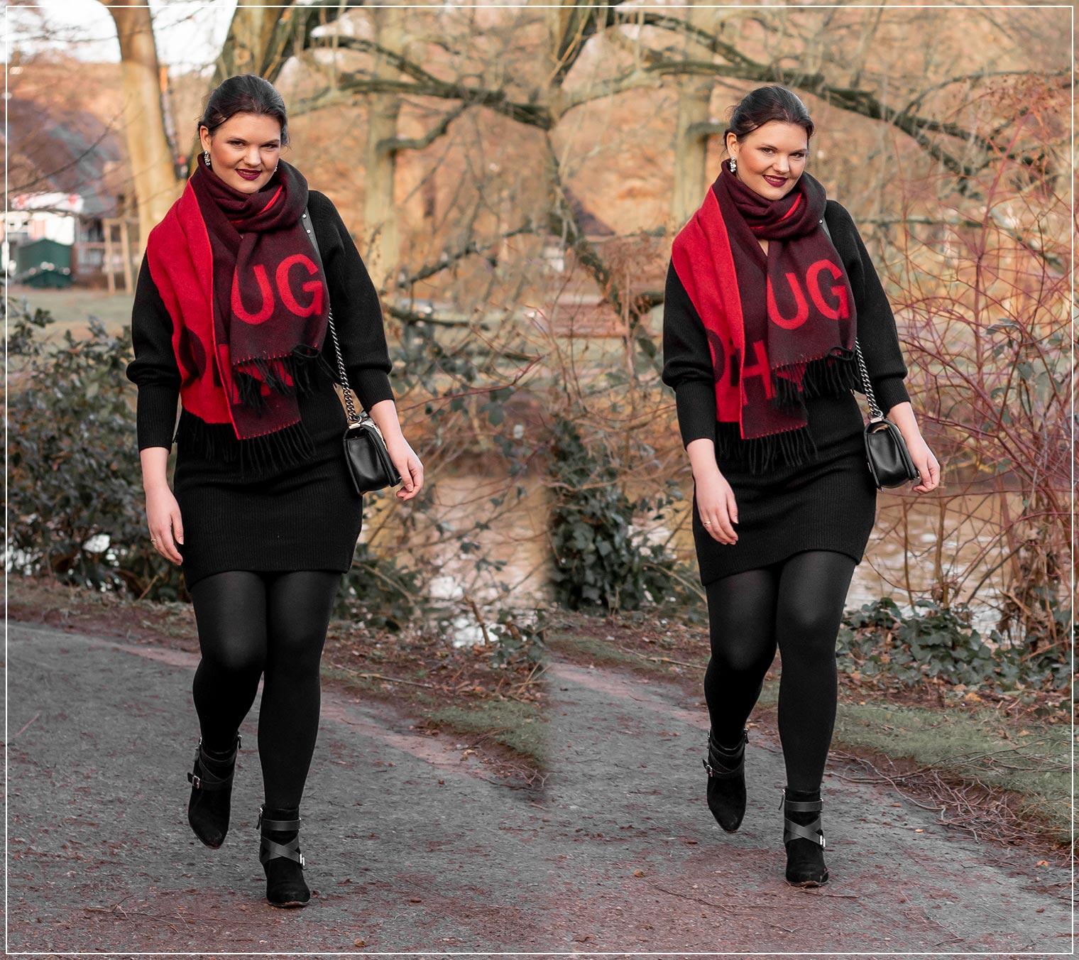 Strickkleid im Winter elegant kombinieren